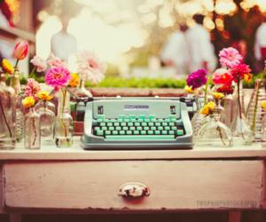 flowers, vintage, and typewriter image