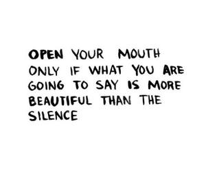 quote, silence, and mouth image