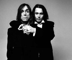johnny depp, iggy pop, and black and white image