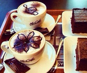 coffee, chocolate, and cake image