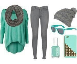 outfit, blue, and grey image