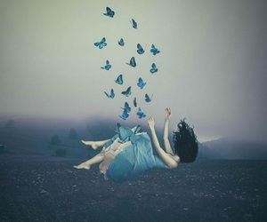 blue, butterflies, and fantasy image