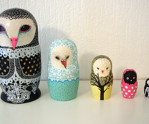 owl, cute, and nesting dolls image