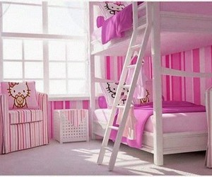pink, hello kitty, and bedroom set image