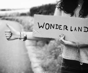wonderland and black and white image