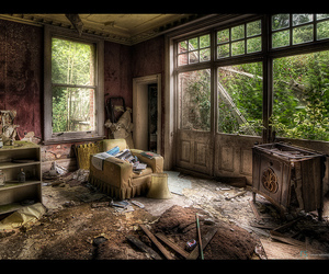 abandoned, armchair, and hdr image