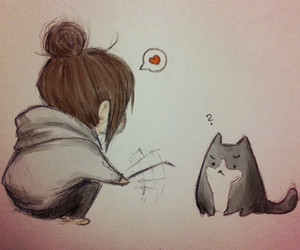 cat, anime, and drawing image