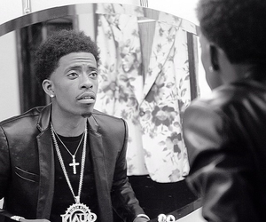 black and white, mirror, and rapper image