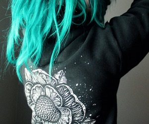 blue hair, drawing, and flower image