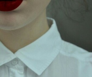 girl, lips, and red image