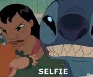 funny, lilo & stitch, and selfie image