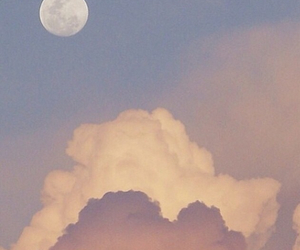 clouds, moon, and sunset image