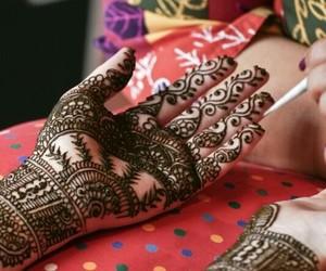 henna, wedding, and indian bride image