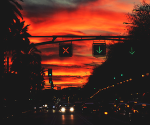 sunset, sky, and city image
