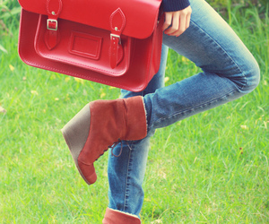 bags, jeans, and shoes image