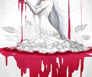 anime, blood, and white image