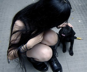 black, dog, and gothic image