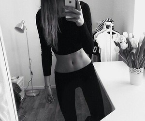 fit, skinny, and black and white image