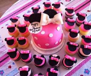 cake, cupcake, and minnie image