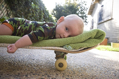 baby, photo, and skateboard image