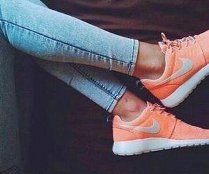 nike, orange, and jeans image