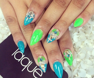 nails, nail design, and nail decals image