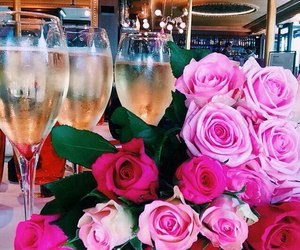 rose, flowers, and champagne image