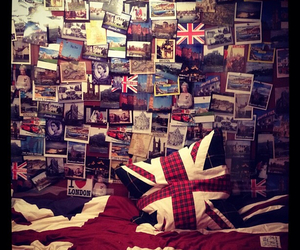 bed, british flag, and Collage image