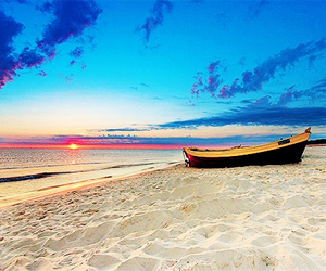 beach, boat, and sunset image