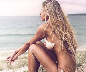 beach, summer, and blonde image