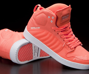 shoes, neon orange, and sneakers image