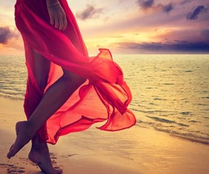 dress, red, and sea image