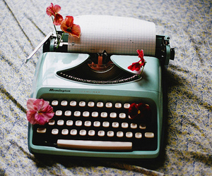 vintage, flowers, and typewriter image