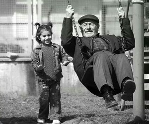 black and white, grandfather, and kids image