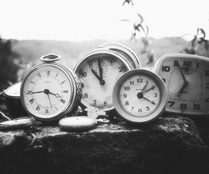 clocks, vintage, and black and white image