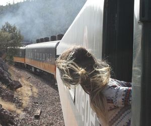 train, girl, and travel image