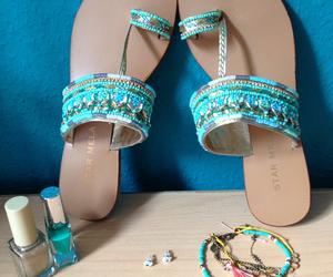 bracelet, nailpolish, and summer image