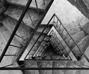 stairs, triangle, and black and white image