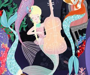 mermaid, music, and sea image