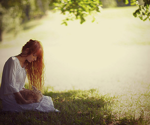 ginger, grass, and girl image