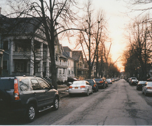 street, car, and house image