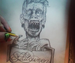 art, drawing, and zombie image