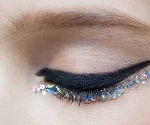 makeup, glitter, and eye image
