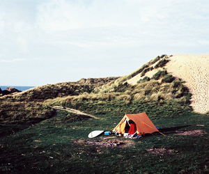 camping, grass, and mountains image
