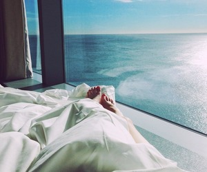 sea, summer, and bed image