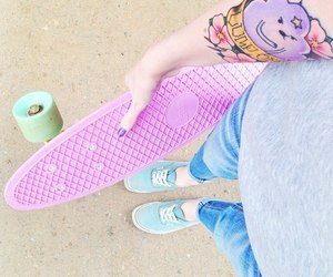 tattoo, pink, and skate image