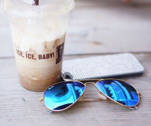 sunglasses, coffee, and summer image