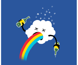 rainbow, drink, and funny image