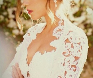 dress, wedding, and lace image