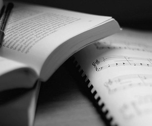 book, music, and black and white image